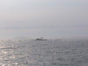 芝浦埋立地護岸 名島 龍神の鳥居と江の島を臨む