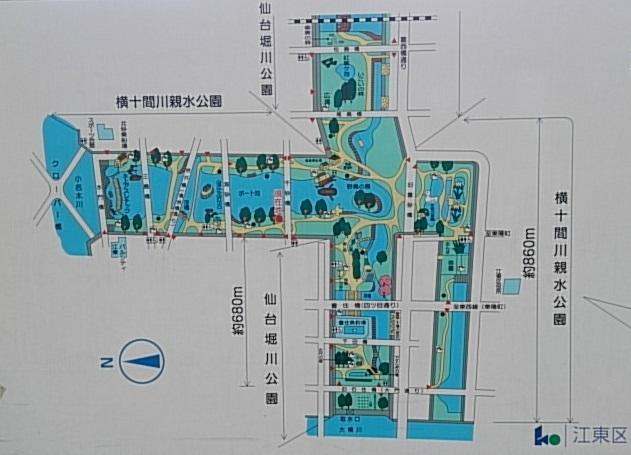 横十間川親水公園 仙台堀川公園MAP