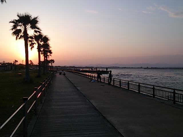 浜名湖 新居海釣公園夕暮れ